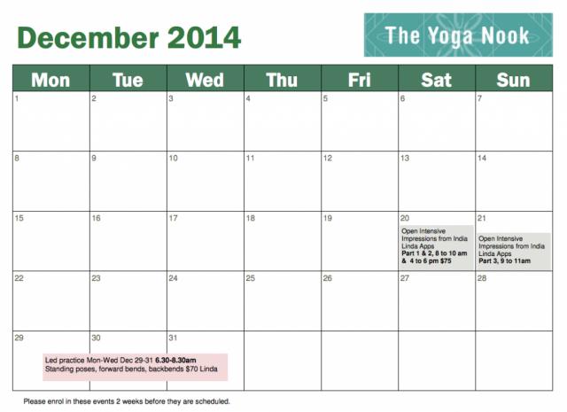 December 2014 timetable